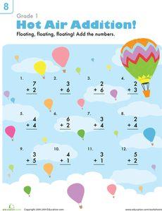 Beginning Addition: Hot Air Balloons Worksheet