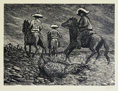Bestias! (Beasts!); plate 6 from Rio Escondido, a   portfolio of ten linoleum engravings by Leopoldo Mendez