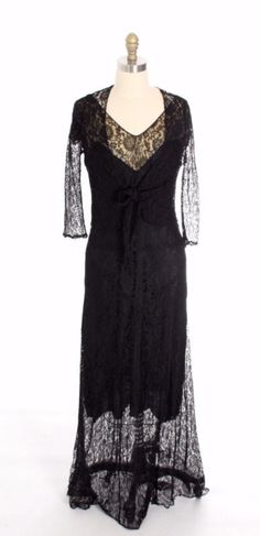 Antique Vintage Black Chantilly Lace Bias Cut Gown 1930s 2 PC Jacket Long Dress Small