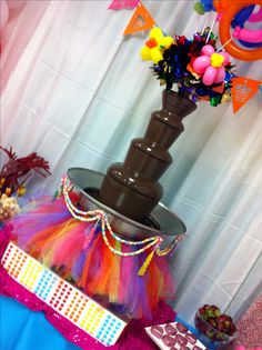 Candy land themed Chocolate Fountain by RW Chocolate Fountain Rentals www.rwchocolatefountains.com