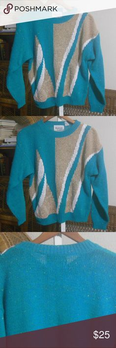 80s Oversize Sweater It has mini colorful flecks, and it bluish green with tan and white pattern.  48 bust  23 length  21 sleeve length  Item in very good to excellent pre-owned condition. Vintage Sweaters