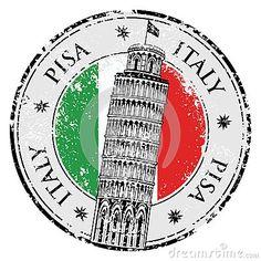 Torre de Pisa del sello en Italia, vector