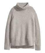 Check this out! Chunky-knit sweater in a cotton blend with a ribbed turtleneck. Raglan sleeves, slits at sides, and ribbing at cuffs and hem. Slightly longer at back. - Visit hm.com to see more.
