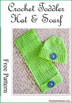 Simply Shoeboxes: Button Up Crochet Scarf & Hat Pattern ~ Designed for an Operation Christmas Child Shoebox Crochet Toddler Hat, Toddler Scarf, Crochet Kids Scarf, Crochet For Boys, Crochet Scarves, Crochet Baby, Crochet Headbands, Christmas Child Shoebox Ideas, Operation Christmas Child Shoebox