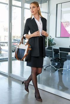 Simply the easiest midi skirt to add to your weekday rotation, our comfortable stretch knit pencil skirt is a stylish wardrobe essential for figure-skimming looks. Best Travel Clothes, Travel Clothes Women, Womens Fashion For Work, Girl Fashion, Plus Fashion, Fashion Heels, Knit Pencil Skirt, Suits For Women, Ladies Suits