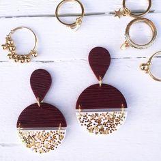 Stud Earrings Statement Studs Burnt Orange Earrings Handmade Clay Rainbow Studs Polymer Clay Studs Hypoallergenic Jewelry