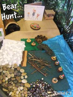 We're Going on a Bear Hunt Small World. EYFS - Communication Language, Physical Development, Literacy and Understanding the World Nursery Activities, Literacy Activities, Preschool Literacy, Tuff Spot, Tuff Tray, Bear Theme, Jungle Theme, Small World Play, Play Based Learning