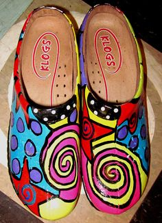 Hand painted leather Klog Shoe size 7 1/2 by monapaints on Etsy, $239.00