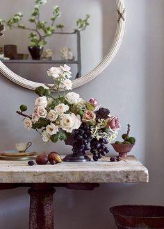 Fruits Vegetables Wedding Flower Arrangements Bouquets with Black Grapes and Kale