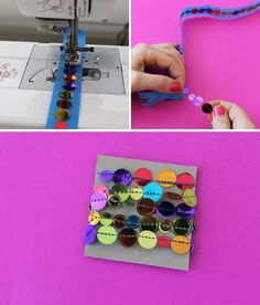 Use painter's tape + a sewing machine to make your own confetti ribbon!