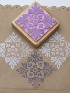 this stencil idea is awesome! much cheaper than diy stamps with rubber blocks and all the tools needed to carve them. Stamp Printing, Printing On Fabric, Screen Printing, Clay Stamps, Stencils, Eraser Stamp, Stamp Carving, Handmade Stamps, Form Design