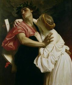 Orpheus and Eurydice c.1864, by Frederic Leighton, Leighton House Museum. 'And now they were not far from the verge of the upper earth. He, enamoured, fearing lest she should flag and imparient to behold her, turned his eyes; and immediately she sank back again. She, hapless one! Both stretching out her arms and struggling to be grasped and to grasp him, caught nothing but the feeling air.' Ovid's Metamorphoses (book X) [Translation by Henry T.Riley, 1861]