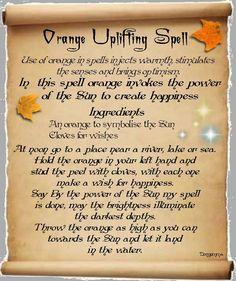 Book Of Shadows Spells | Orange Uplifting Spell