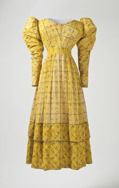 Dress, circa 1827, European: silk and cotton gauze with silk supplementary warp and weft patterning, block-printed.