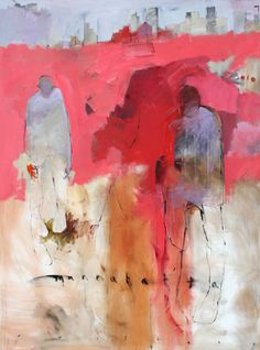 Chris Gwaltney at Seager Gray Gallery showing Mannahattan abstract figurative oil painting.