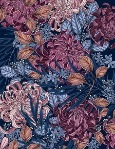 Pattern Illustration: Chrysanthemum Garden on Behance Pattern Illustration, Botanical Illustration, Digital Illustration, Garden Drawing, Flower Backgrounds, Floral Illustrations, Chrysanthemum, Surface Pattern, Street Art