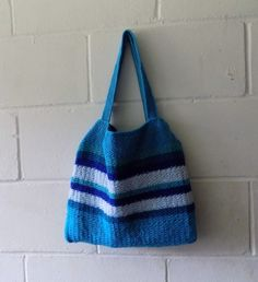 Hand Knitted Aqua and Blue Striped Small Tote Bag  £32.00