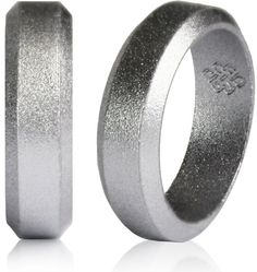 Thick band TOUGH LOVE - Premium Silicone Wedding Rings Blue with Thin White Line