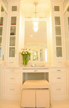 built in makeup vanity on custom wall - Google Search
