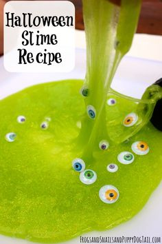 Easy Halloween Slime Recipe.  Sensory play activity idea for kids.