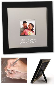 Our 8x8 Signature Frame is our smallest frame and is perfect for any smaller event such as a shower or birthday.  it comes with an easel back so the frame can set on desk, Wedding Guest Book/ Unique Alternatives. Guest Books Guestbookhttp://www.idoengravables.com/wedding_guest_books_c/signature_frame_choices/Signature+Frame+Choices
