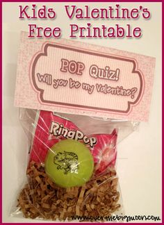 Kids Valentine Printable - POP Quiz.  To be put w/ a Ring Pop, Toy Popper, or Tootsie Pop!!