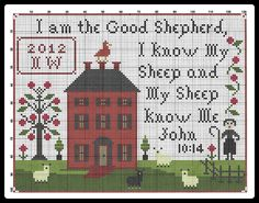 Liberty Primitives & Needlework - The Good Shepherd Sampler Freebie.