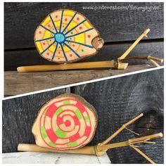 Petits escargots en bois bricolé avec les enfants. http://pinterest.com/fleurysylvie/mes-creas-pour-les-kids/ et www.toutpetitrien.ch