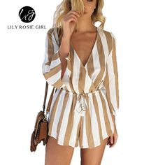 Elegant Long Sleeve V Neck Women Beach Striped Overall Playsuits 2016 Summer Style Sexy Ladies Sashes Short Jumpsuits Rompers