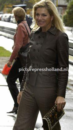 Eenmaal gedragen kleding: Bruin leren jasje van NATAN | ModekoninginMaxima.nl