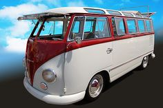 1951 Volkswagen Samba-Bus, a van with skylight windows and cloth sunroof, first generation only, also known as a Deluxe Microbus. They were marketed for touring the Alps.