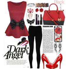 A fashion look from January 2015 featuring red shirt, yoga leggings and platform pumps. Browse and shop related looks.