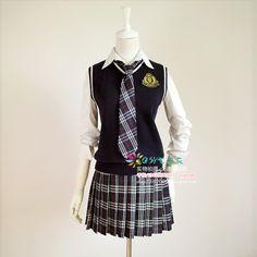 Bleu marine gilet de mode costume jupe écossaise preppystyle femelle, ensemble uniforme scolaire de classe de service