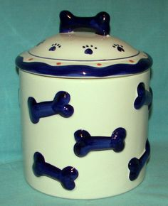 Ceramic Dog Treat Cookie Jar Air Tight Seal New w Box Dish Puppy Food Container | eBay