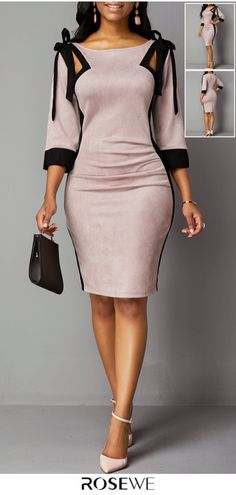 Tie Shoulder Three Quarter Sleeve Back Zipper Dress Dress Outfits, Fall Outfits, Casual Dresses, Fashion Dresses, Cute Outfits, Pretty Dresses, Beautiful Dresses, Moda Fashion, Womens Fashion