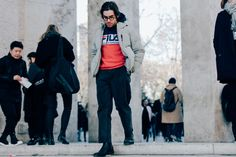 Photographer Dan Roberts captures the stylish men at outside the Fall / Winter 2017 fashion shows in Paris.