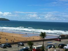 Holiday makers enjoying the Woolacombe Beach.