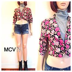 50% OFF Clearance Vintage 80s Floral cropped by MainCourseVintage