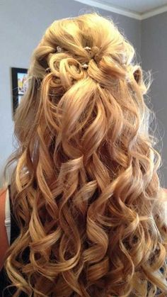 Glamorous Half Up Prom Hairstyle for Curly Hair