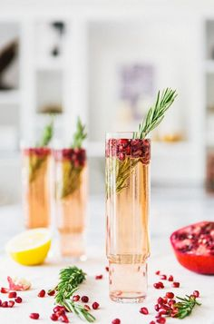 Pomegranate Rosemary Spritzer: http://www.stylemepretty.com/living/2014/11/24/25-perfect-for-thanksgiving-cocktails/