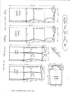 Esquema de modelagem de Vestido Tubinho com Renda e manga 3/4 tamanho 38