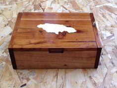 JEWLLERY box with Jamaican map inlayed, Cedar