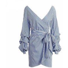 Off Shoulder Wrap Dress (110 PEN) ❤ liked on Polyvore featuring dresses, off-shoulder dresses, blue color dress, blue dresses, off-the-shoulder dress and off the shoulder day dress