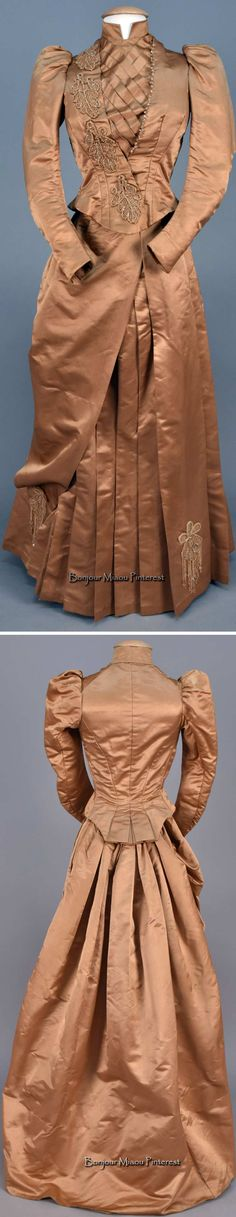 Afternoon dress ca. 1885–89. Two-piece fawn silk satin; unboned bodice. Whitaker Auctions