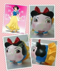 Blanca nieves Personalized Piggy Bank, Craft Projects, Projects To Try, Cute Piggies, Pottery Painting, Snow White, Lunch Box, Ceramics, Gifts