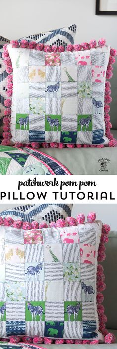 Free sewing pattern for a pom pom patchwork pillow. Uses a fun cheater way to make the points match up- Free pillow pattern