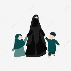 Family Illustration, Illustration Art, Happy Mother S Day, Mother Daughter Quotes, Black And White Cartoon, Islamic Cartoon, Muslim Family, Anime Muslim, Hijab Cartoon