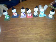 Golf ball snowmen and angels