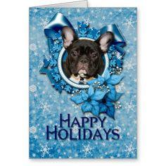 Kerstmis - Blauwe Sneeuwvlok - Franse Buldog - Wenskaart