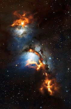 This image of the region surrounding the reflection nebula Messier 78, just to the north of Orion's belt, shows clouds of cosmic dust threaded through the nebula like a string of pearls. The submillimetre-wavelength observations, made with the Atacama Pathfinder Experiment (APEX) telescope and shown here in orange, use the heat glow of interstellar dust grains to show astronomers where new stars are being formed. They are overlaid on a view of the region in visible light.